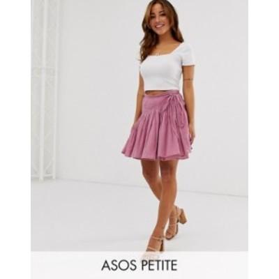 エイソス レディース スカート ボトムス ASOS DESIGN Petite cheesecloth wrap mini skirt Dark rose
