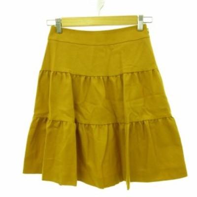 【中古】ルビーリベット Rubyrivet ミニスカート ティアードフリル からし色 黄 36 *E374 レディース