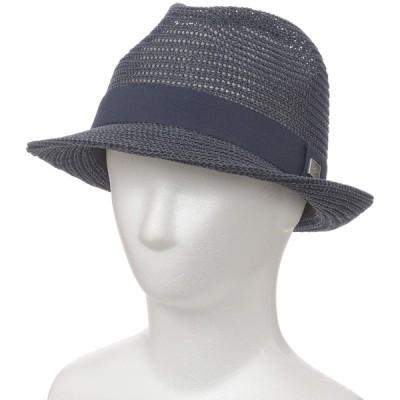 メンズ クロコダイル ペーパー中折れ帽子 ネイビー 56.5cm