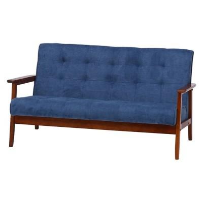ファブリックソファー 木肘 幅135cm 2人掛け コンパクト ソファ ソファー 2人がけ 肘付き リビングソファー いす 椅子