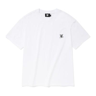 WOOALONG公式シグネチャー刺繍半袖Tシャツホワイト
