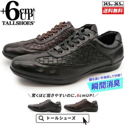 スニーカー メンズ シークレットシューズ 6cm 身長アップ 靴 本革 日本製 幅広 3E 大きめ レザーメッシュ 紐 2020 秋 冬 プレゼント トールシューズ DH107-6cm
