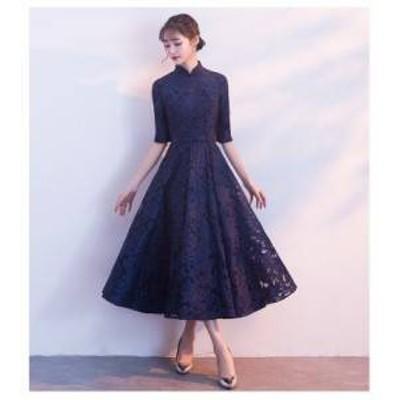 ドレス ワンピース レース ひざ下丈 五分袖 ブラック 20代 上品 エレガント きちんと感 春夏 結婚式 お呼ばれ a543