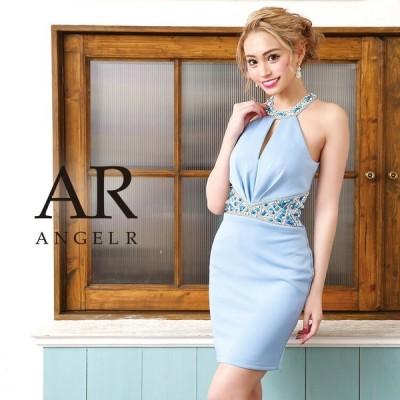 AngelR エンジェルアール ウエストビジューデコルテ&バックデザインカットタイトミニドレス AR9208
