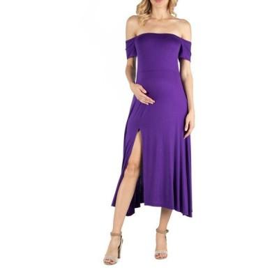24セブンコンフォート レディース ワンピース トップス Off Shoulder Soft Flare Maternity Midi Dress with Side Slit