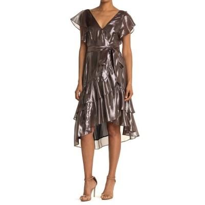 タニアテイラー レディース ワンピース トップス Dita Tiered Ruffled Wrap Dress GUNMETAL