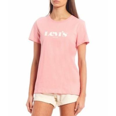 リーバイス レディース Tシャツ トップス Levi'sR Short-Sleeve Perfect Logo Graphic Tee Peony