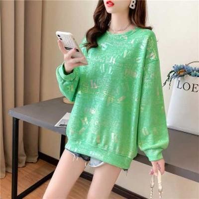 春新作 予約商品 大きいサイズ レディース スウェット トレーナー 韓国ファッション 長袖 英字ロゴ キラキラ ゆったり 体型カバー オー