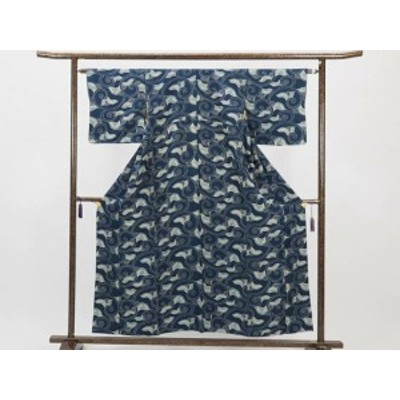 【中古】リサイクル小紋 / 正絹紺地袷小物着物(古着 中古 小紋 リサイクル品)