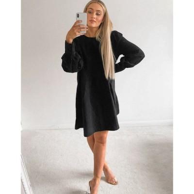エイソス ASOS DESIGN レディース ワンピース デニム ウォッシュ加工 Soft Denim Puff Sleeve Smock Dress In Washed Black ウォッシュブラック