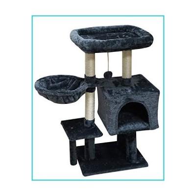 FISH&NAP US09YH Cat Tree Cat Tower Cat Condo Sisal Scratching Posts with Jump Platform Cat Furniture Activity Center Play House SmokyGrey【
