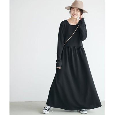 (coca/コカ)エンボス加工ポケット付きギャザーフレアワンピース/レディース BLACK