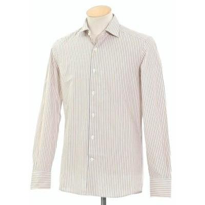 グランシャツ Glanshirt コットン ストライプ セミワイドカラーシャツ ホワイト×ダークブルー×オレンジ 37
