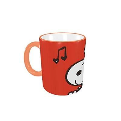 マグカップ コーヒーカップ スヌーピー Snoopy 耐熱ガラス マグちゃん すべり止め付き 電子レンジ温め対応 食器 Orange