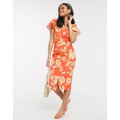 ペーパードール ミディドレス レディース Paper Dolls flutter sleeve wiggle dress in orange floral エイソス ASOS オレンジ
