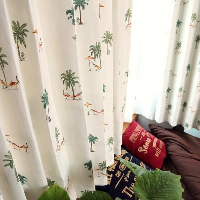 1cm刻み カーテン おしゃれ 緑 安い 遮光 ハワイアン リゾート ヤシの木 ナップ グリーン みどり 1.5倍ヒダ