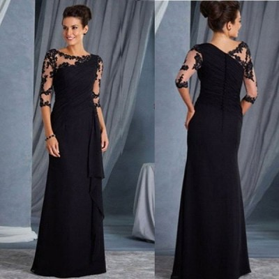 コーラス カラオケ 衣装 コーラス カラオケドレスに 袖五分丈 襟元・袖レース ロングワンピース 後ろシームレスファスナー 裏地なし 体にフィットします 黒