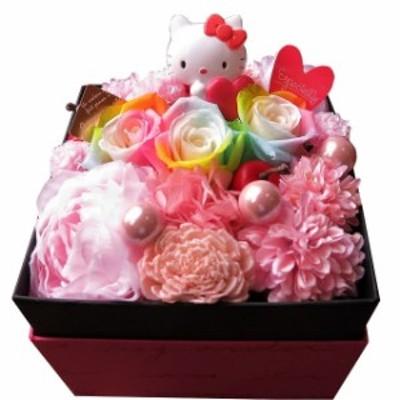 誕生日プレゼント キティ 花束風 箱を開けてサプライズ キティ マスコット入り フラワーボックス レインボーローズ プリザーブドフラワー