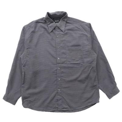 総柄 フェイクスウェードシャツ ボタンダウン 長袖 チャコールグレー サイズ表記:XL