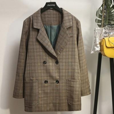 Pコート レディース ピーコート アウター グレンチェック チェック柄 長袖 ジャケット コート 大きいサイズ
