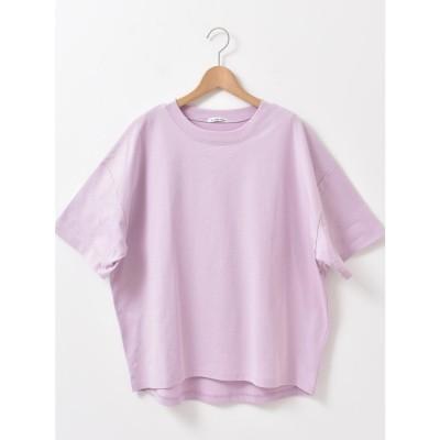 le.coeur blanc HEAVY天竺ワイドシルエットTシャツ(ピンク)