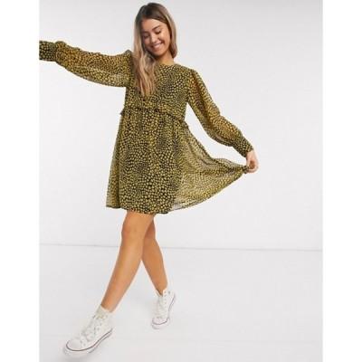 ウェンズデーガール レディース ワンピース トップス Wednesday's Girl mini smock dress with ruffle detail in heart print