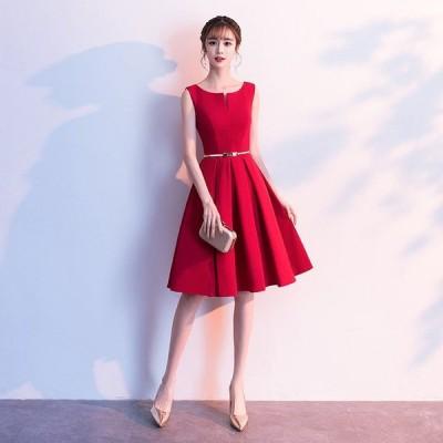 ワイン赤 膝丈 ドレス Aライン 結婚式 ノースリーブ ベルト付き パーティードレス  二次会 お呼ばれ 20代 30代 40代 大きいサイズ