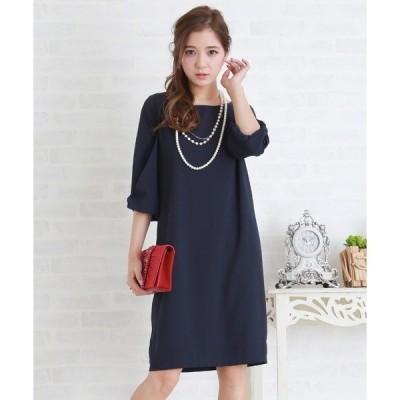 ドレス リボン袖シンプルコクーンワンピース・ドレス