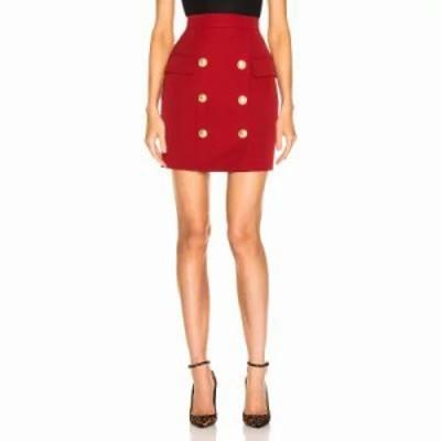 バルマン ミニスカート Button Front Mini Skirt Dark Red