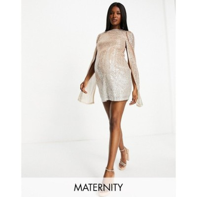 ジェイデッドローズ Jaded Rose Maternity レディース ワンピース ミニ丈 exclusive mini dress with cape sleeve in ombre sequin in gold and silver