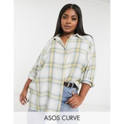 エイソス レディース シャツ トップス ASOS DESIGN Curve long sleeve boyfriend shirt in washed green and yellow plaid Multi