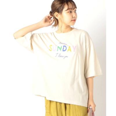 【フレディアンドグロスター】 SUNDAY ロゴTシャツ レディース エクリュ 38 FREDY&GLOSTER