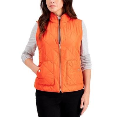チャータークラブ ジャケット&ブルゾン アウター レディース Quilted Vest, in Regular & Petite Poinciana