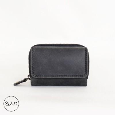 tiny ミニ財布 Black 本革 三つ折りコンパクト【名入れ可】(希望しない)