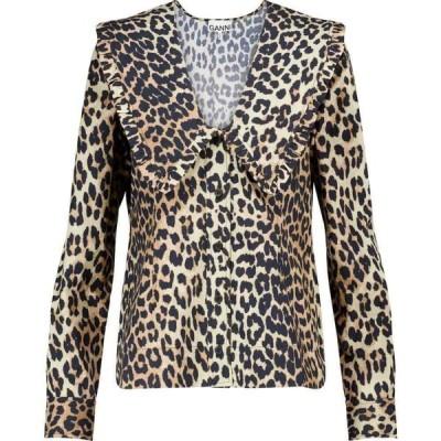 ガニー Ganni レディース ブラウス・シャツ トップス Leopard-print cotton poplin blouse Leopard