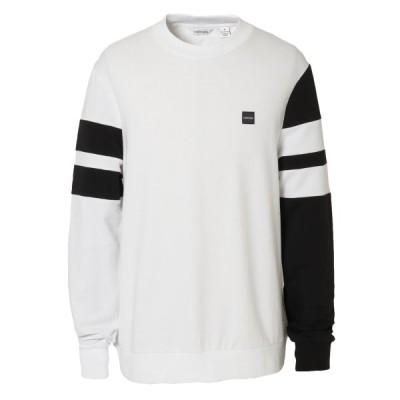 【即納】カルバンクライン Calvin Klein メンズ スウェット・トレーナー トップス DOUBLE BAR SLEEVE STRIPE WIDE 40M6951 white combo 袖ライン バイカラー