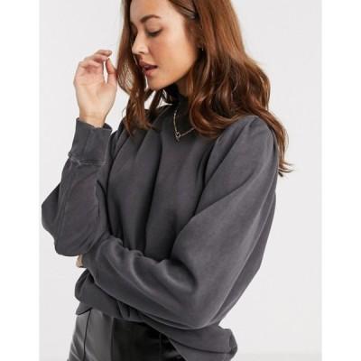 リバーアイランド レディース シャツ トップス River Island puff sleeved sweatshirt in washed black