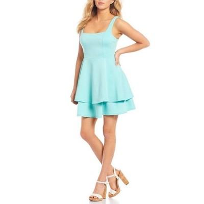 シティヴァイブ レディース ワンピース トップス Sleeveless Square-Neck Bow-Back Double Hem Fit-and-Flare Dress