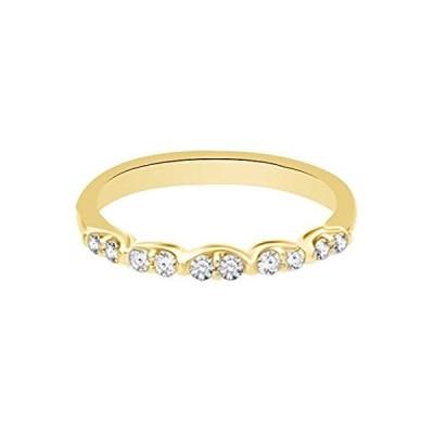 AFFY ホワイト天然ダイヤモンド 結婚指輪 10Kソリッドゴールド(0.25カラット)