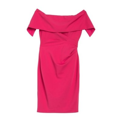 マリーナ レディース ワンピース トップス Off-the-Shoulder Popover Ruched Sheath Dress HOTPINK