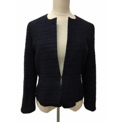 【中古】レステラ LESTERA ジャケット ノーカラー 切替 長袖 38 黒 ブラック レディース