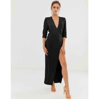 エイソス ASOS DESIGN レディース ワンピース ワンピース・ドレス maxi tux dress in crepe Black