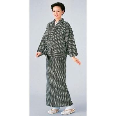 二部式着物 レディース 単衣 セパレート 2部式 着物 旅館 ユニフォーム 洗える着物 麻の葉 黒