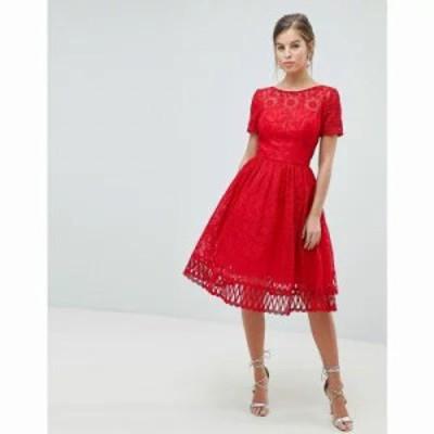 チチロンドン ワンピース premium lace prom dress with cutwork hem in red Red