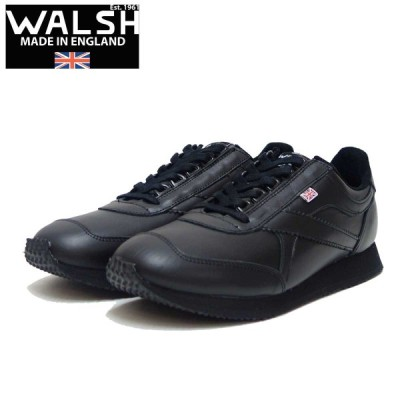 WALSH ウォルシュ VOY50006(ユニセックス) Voyager Leather カラー:Black(英国製)  オールレザーのランニングスニーカー