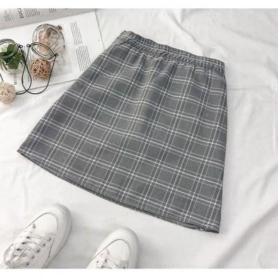 レディーススカートタイトスカートAラインスカート台形スカート膝丈春夏ベーシックチェック柄