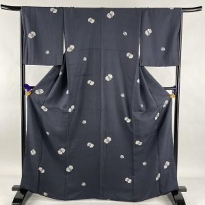 小紋 美品 秀品 梅 竹 青黒 袷 身丈167cm 裄丈66.5cm M 正絹 中古
