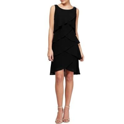 イグナイトイブニングス レディース ワンピース トップス Chiffon Tulip Tiered Hem Sleeveless A-Line Dress Black