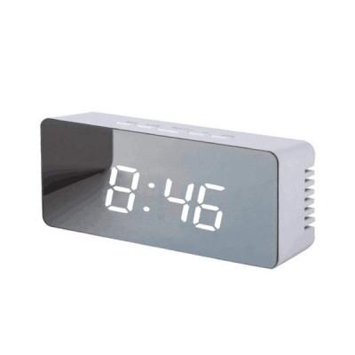 デジタル目覚まし時計 - ミラーLEDの目覚し時計夜ライト、温度計の柱時計長方形/正方形ライト多機能の卓上時計