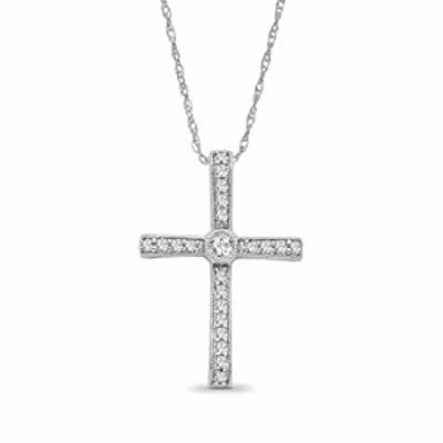 14K ホワイトゴールド 1/4 CTW プロングセット ダイヤモンド クロスペンダント ネックレス ジュエリー 女性用